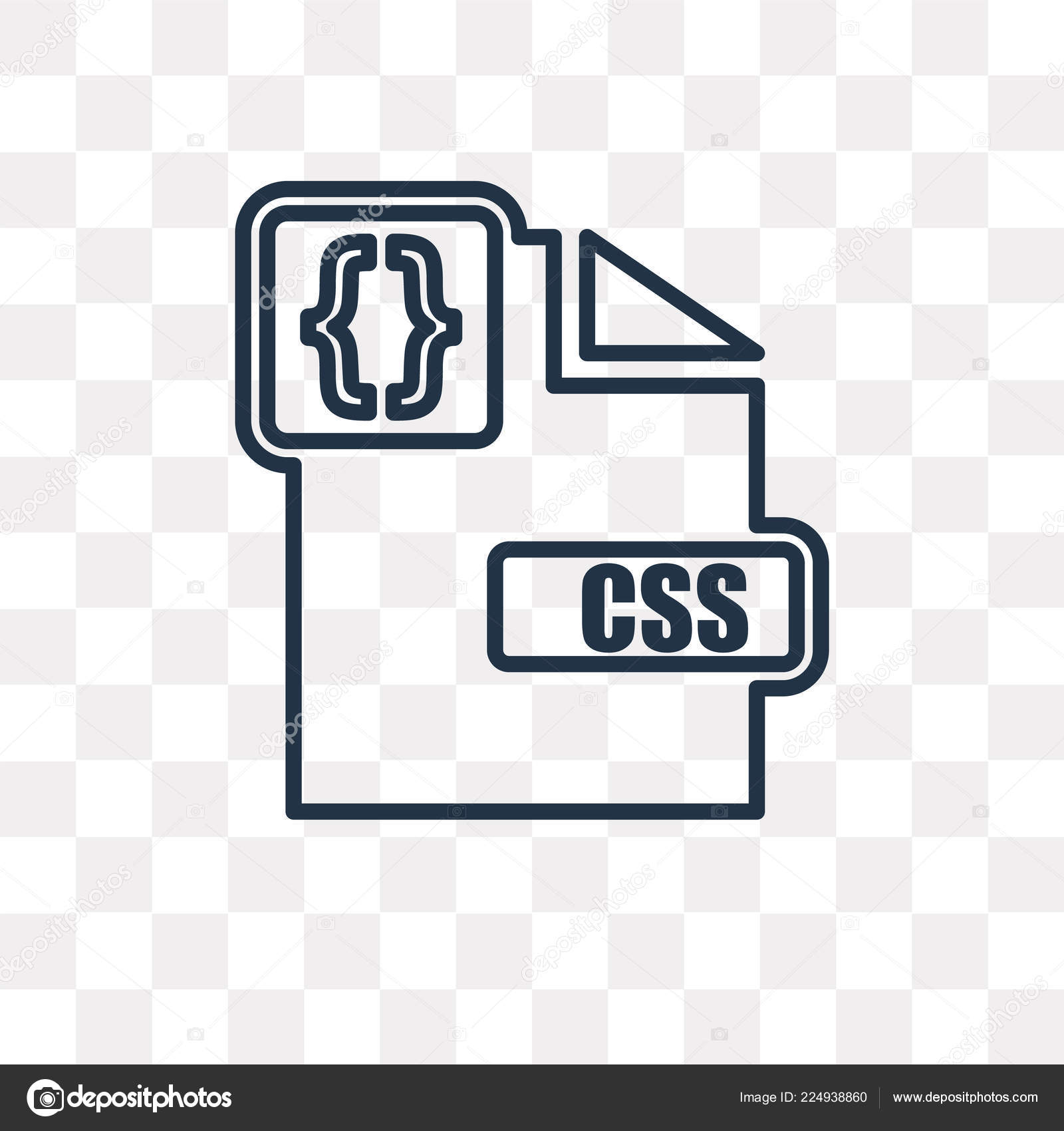 Css Vector Outline Icon Isolated Transparent Background High Quality