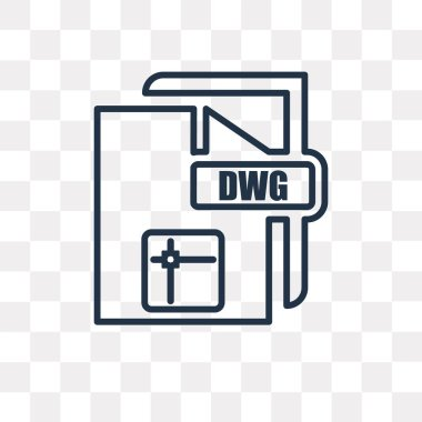 Dwg vector outline icon isolated on transparent background, high quality linear Dwg transparency concept can be used web and mobile