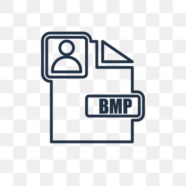 Bmp vector outline icon isolated on transparent background, high quality linear Bmp transparency concept can be used web and mobile