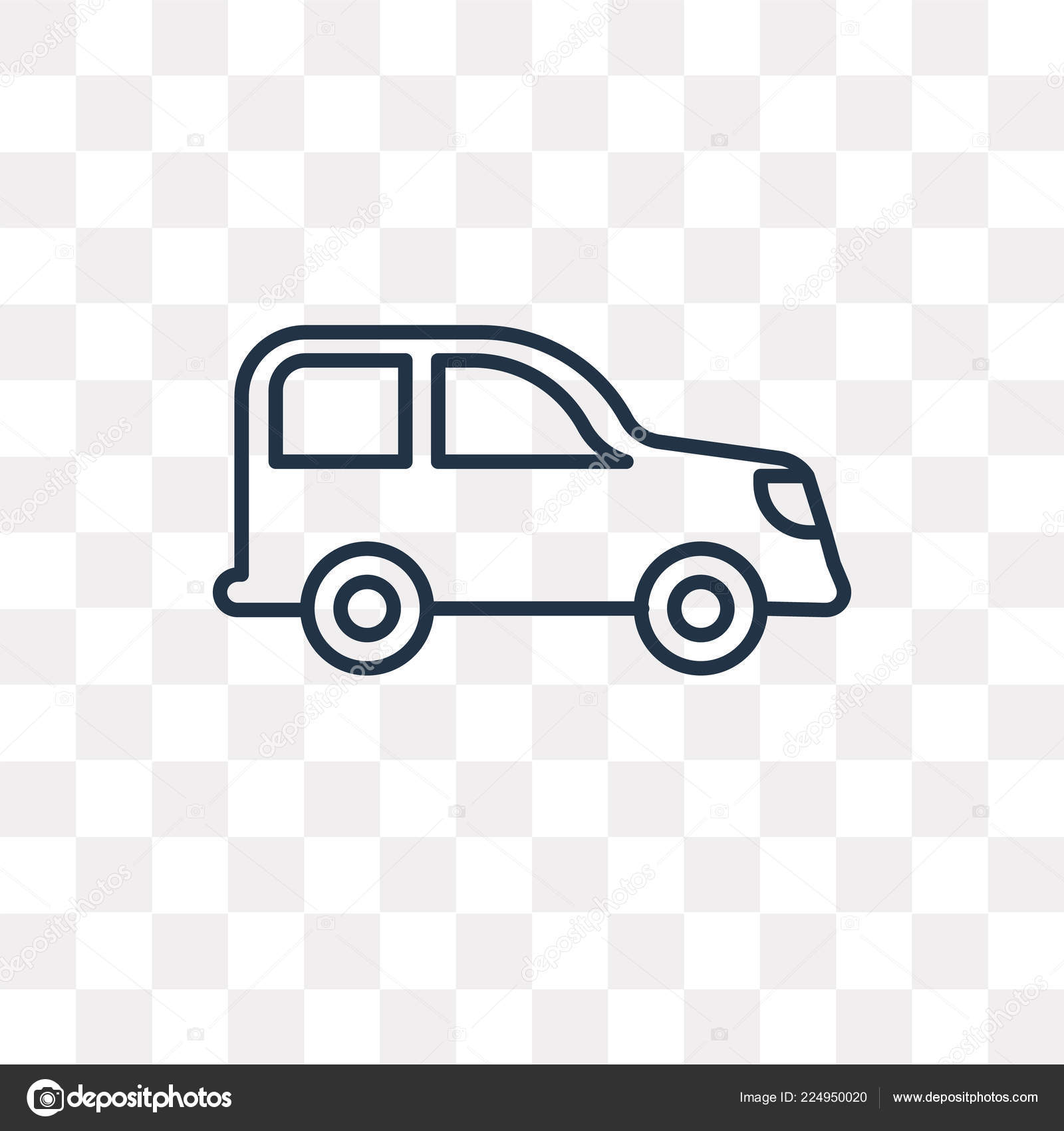 Small Car Vector Outline Icon Isolated Transparent