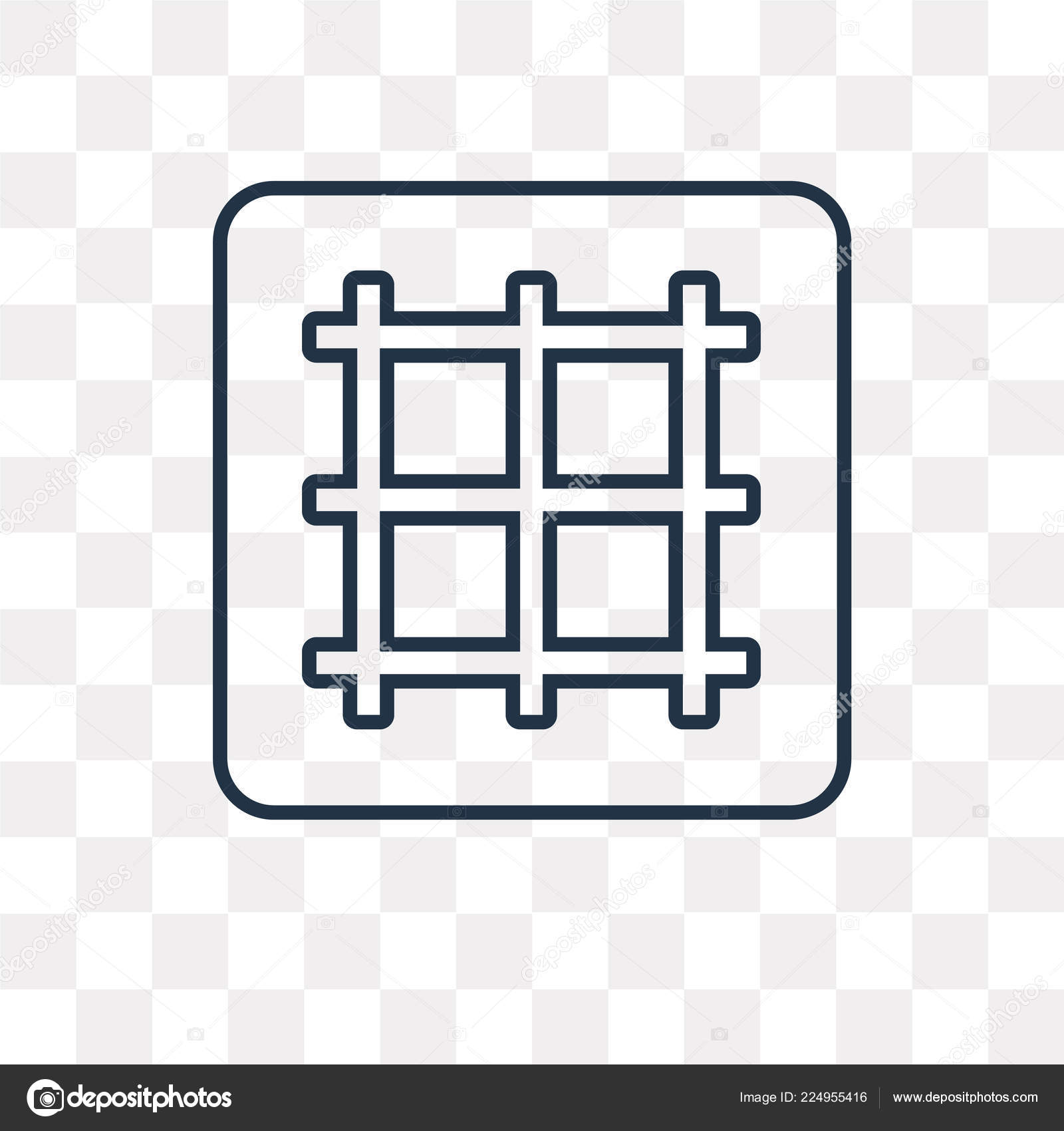 Grid Vector Outline Icon Isolated Transparent Background High