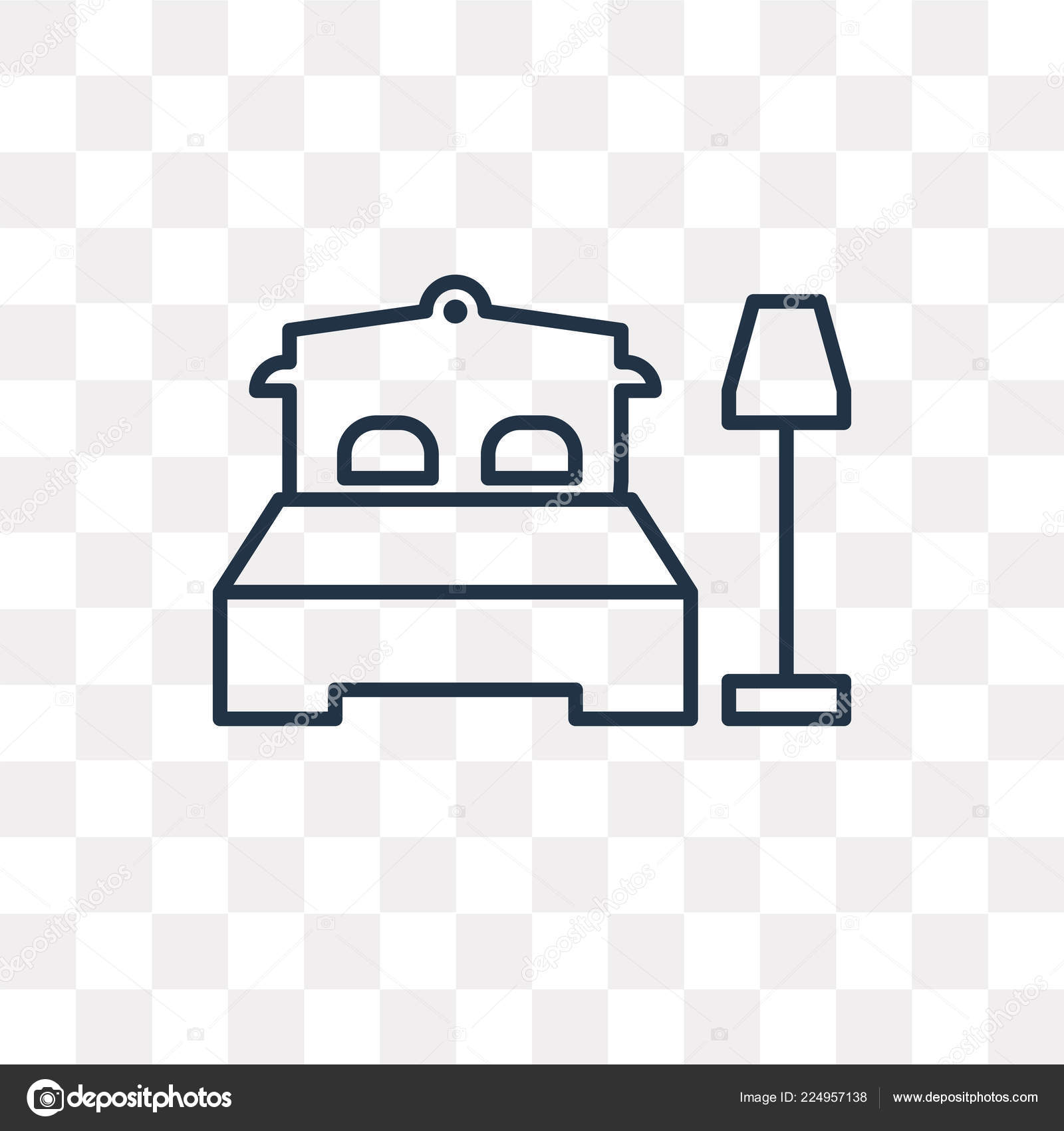 Bedroom Vector Outline Icon Isolated Transparent Background High