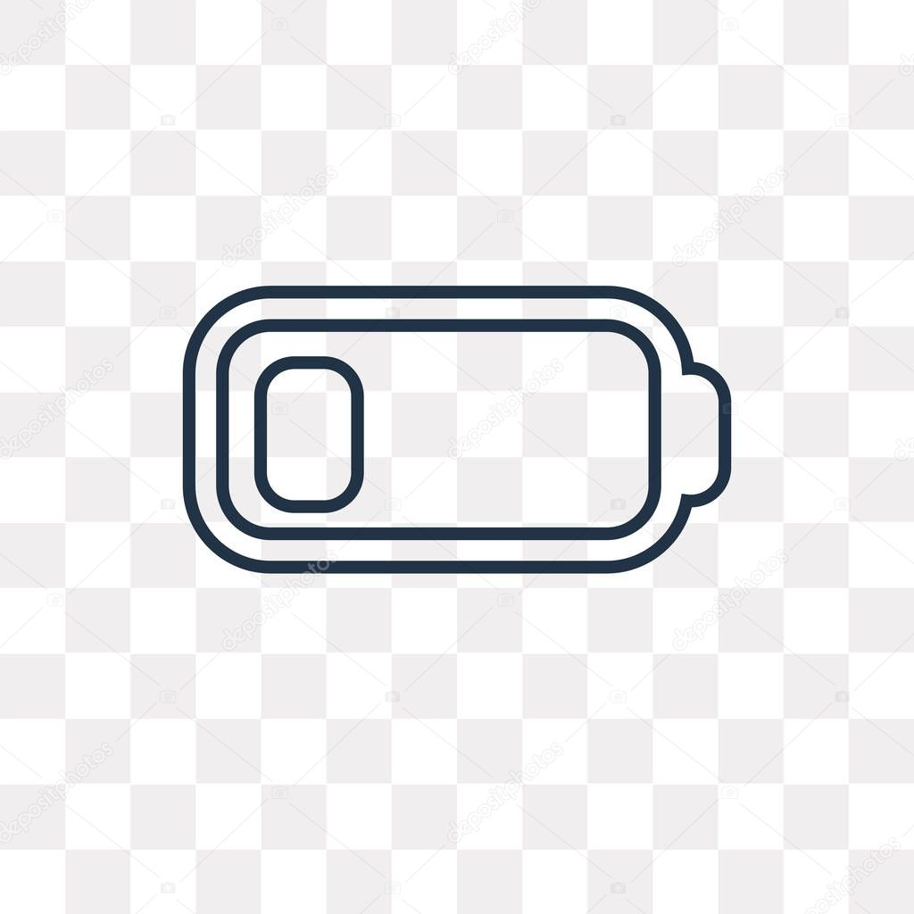 low battery vector outline icon isolated on transparent background high quality linear low battery transparency concept can be used web and mobile premium vector in adobe illustrator ai ai wdrfree