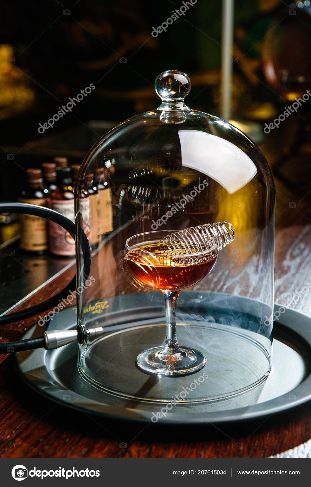 Cocktails Are Made On Modern Equipment, Gadgets. It Was Used As Handmade  Ice, Block, Balls And Slings. U2014 Foto De Sergeyev_Vladimir