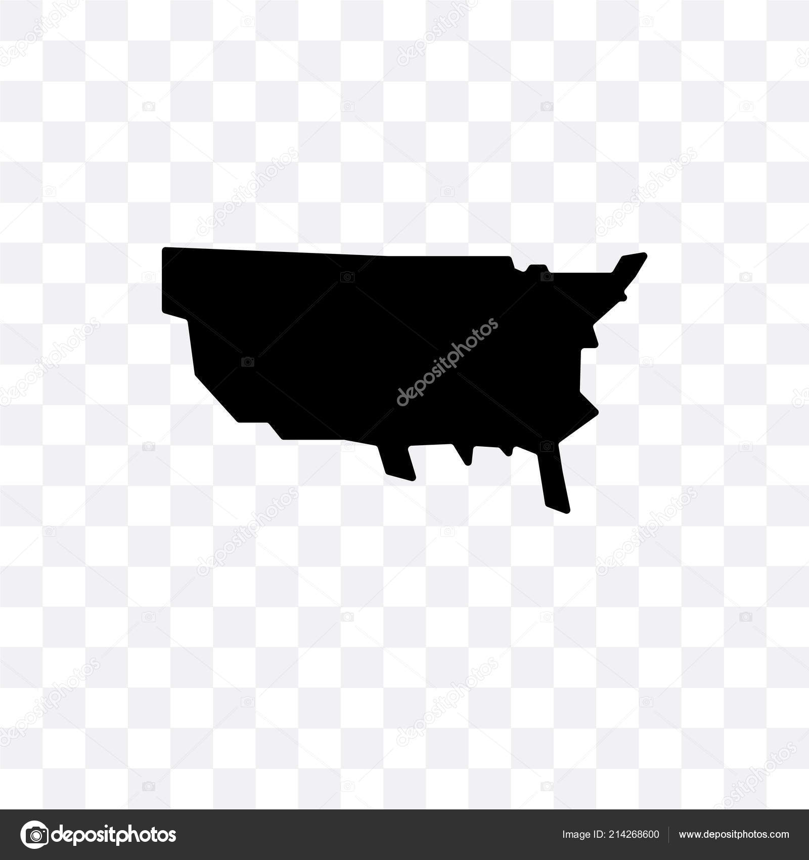 US map vector icon isolated on transparent background, US map lo ...