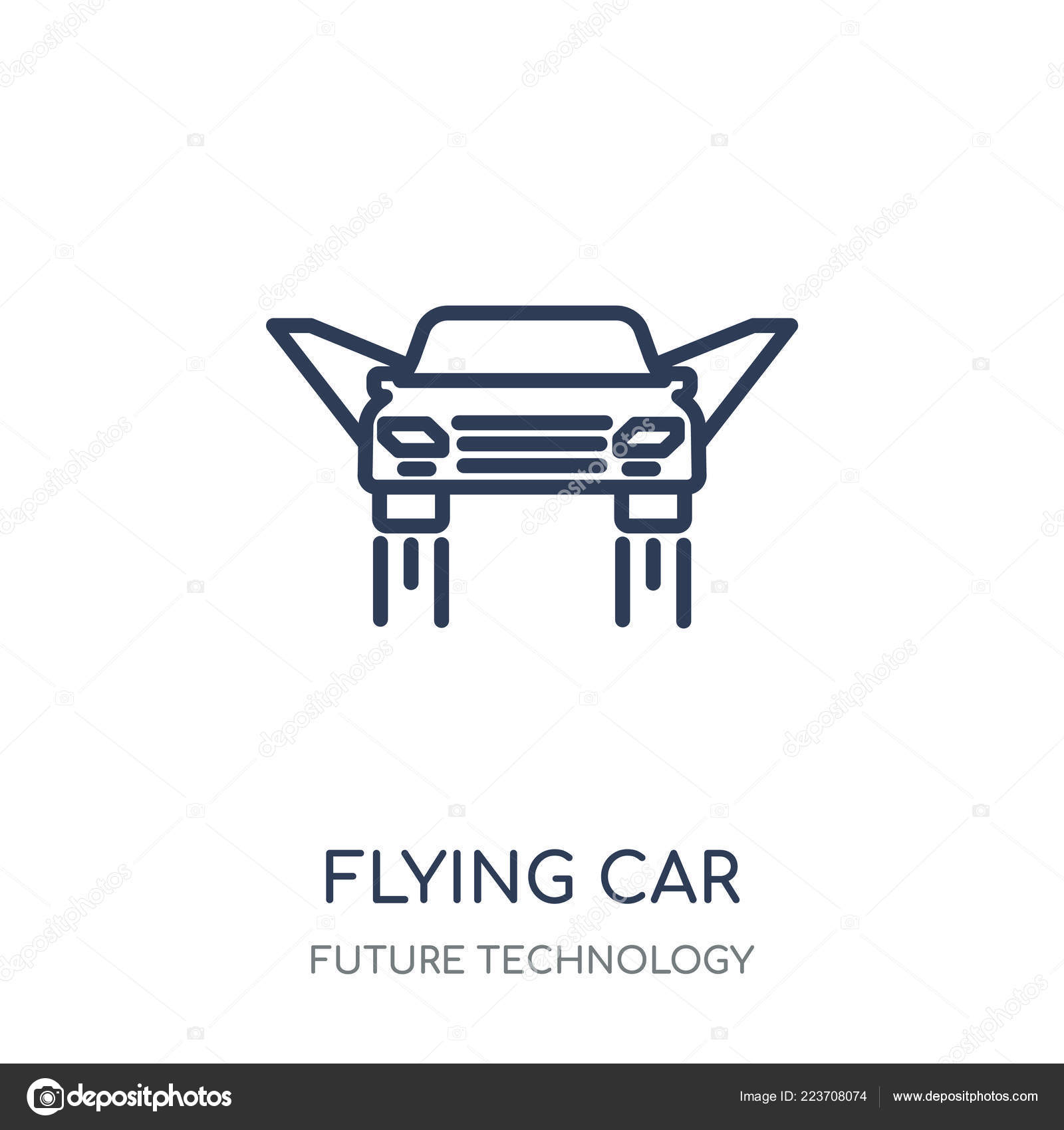 Flying Car Icon Flying Car Linear Symbol Design Future Technology Stock Vector C Coolvectorstock 223708074