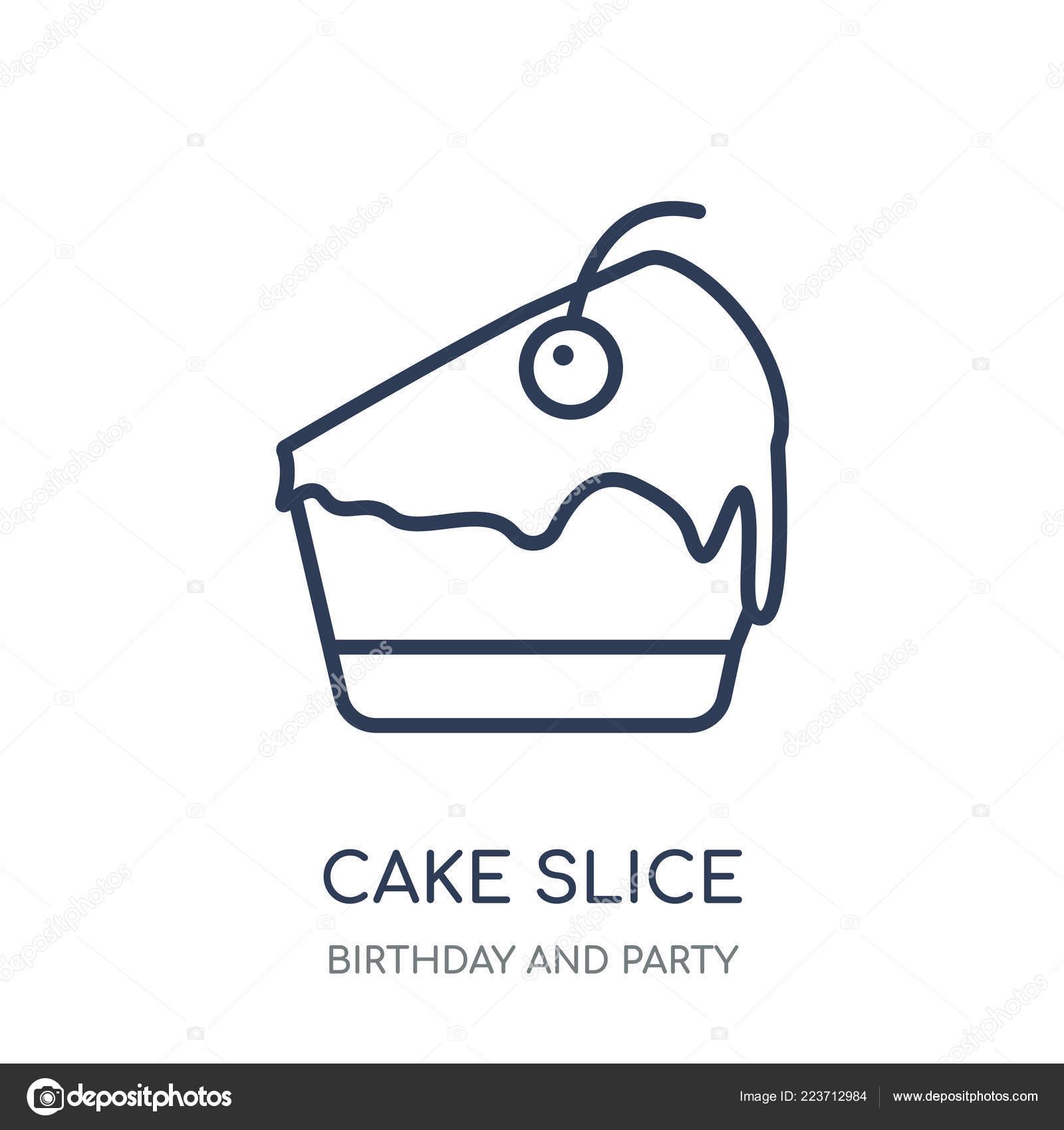 Icona Della Fetta Torta Disegno Simbolo Lineare Fetta Torta