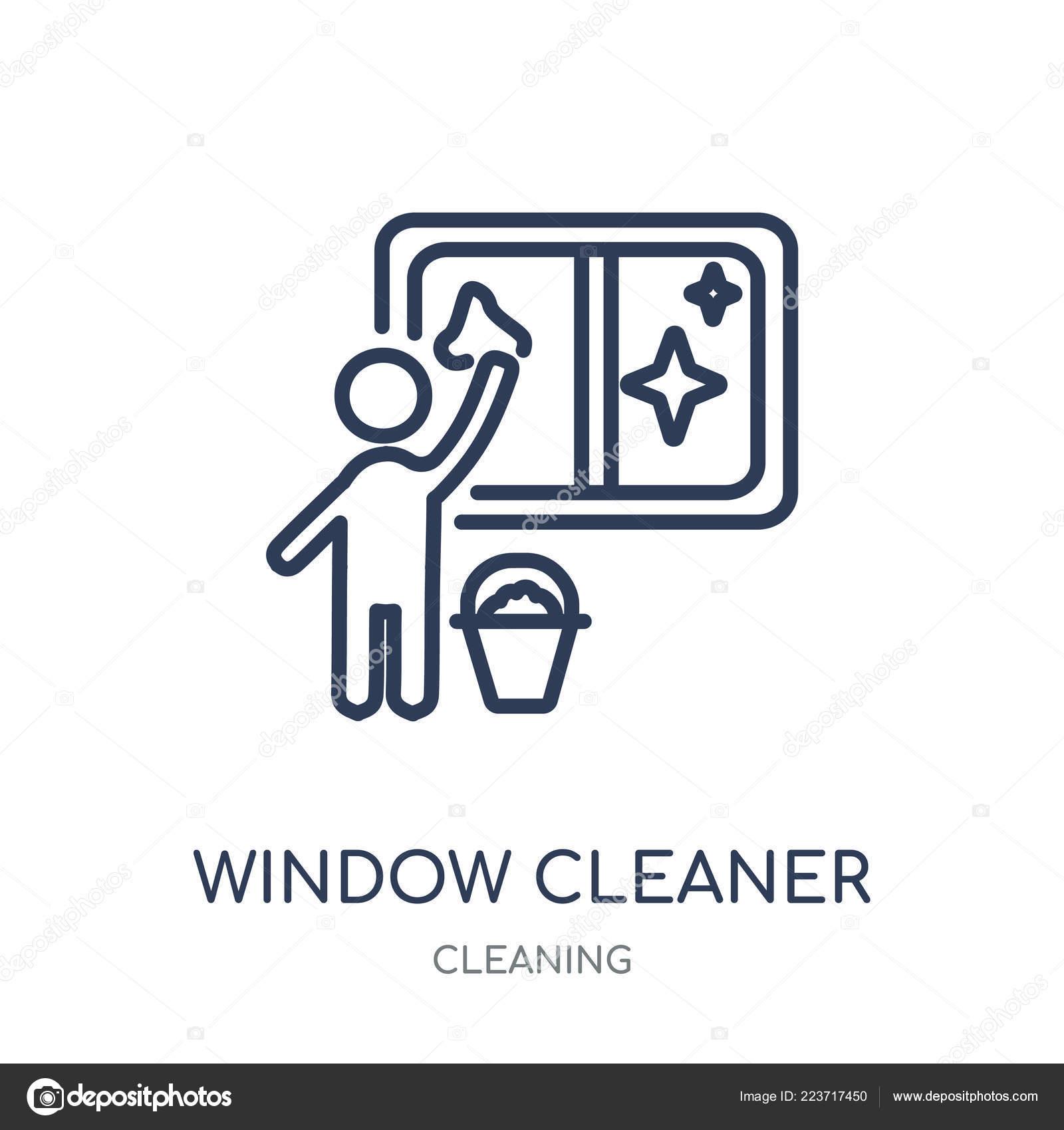 Fenster Reiniger Symbol Fenster Reiniger Lineare Symbol Design Aus