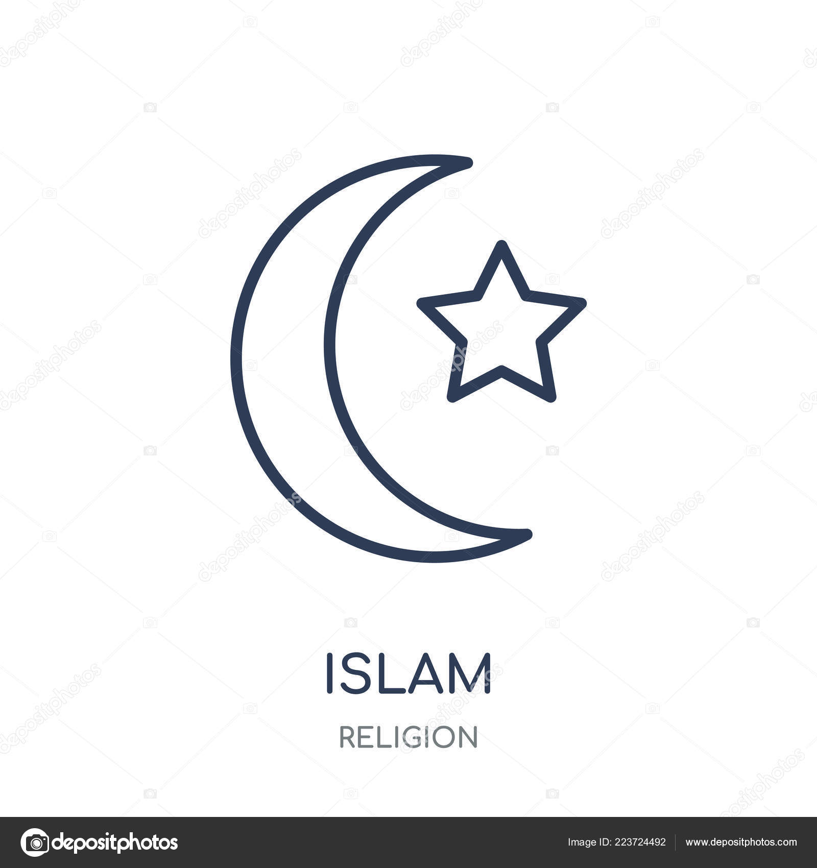 Islam Icon Islam Linear Symbol Design Religion Collection