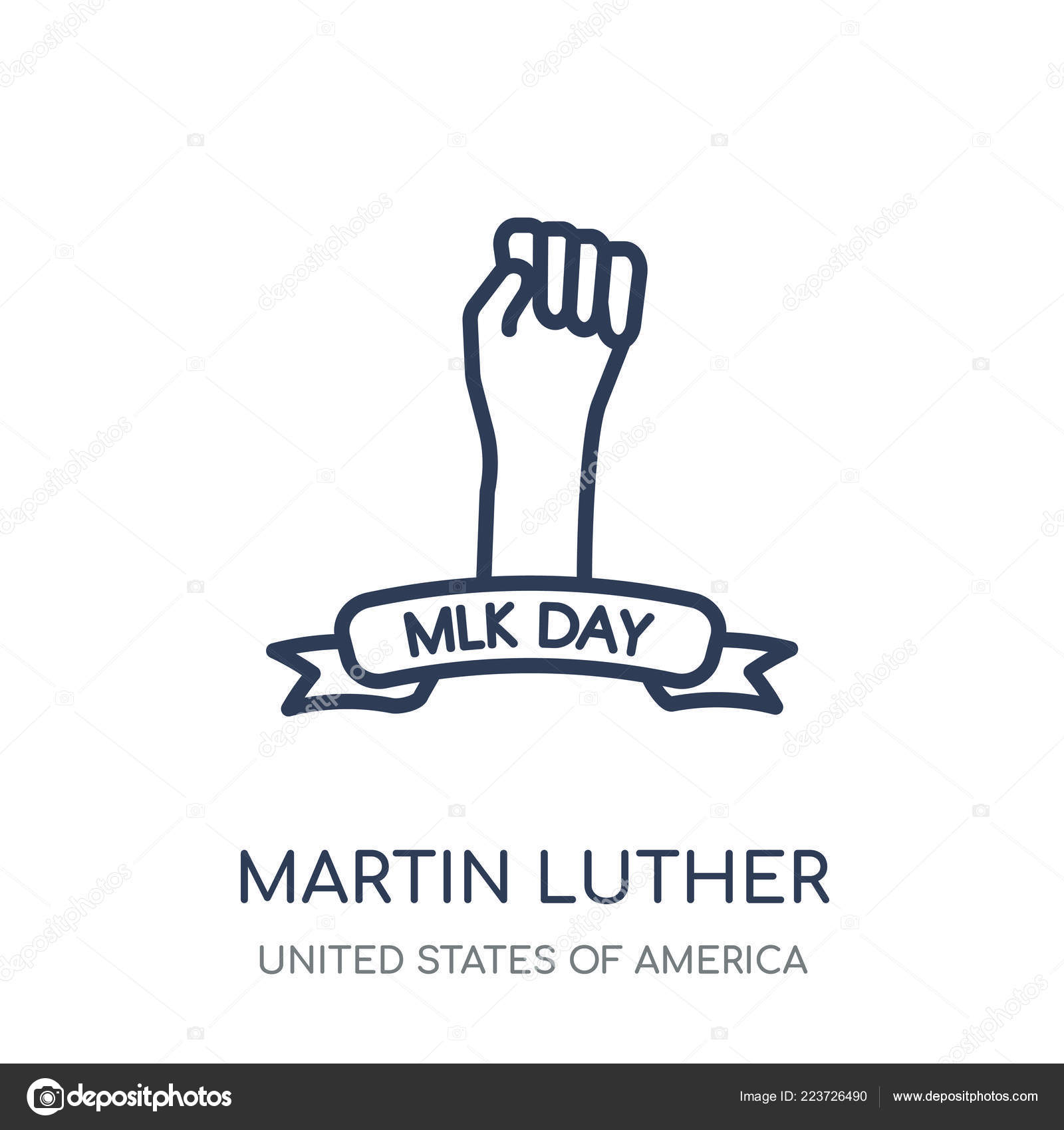 Martin Luther King Day Icon Martin Luther King Day Linear Stock