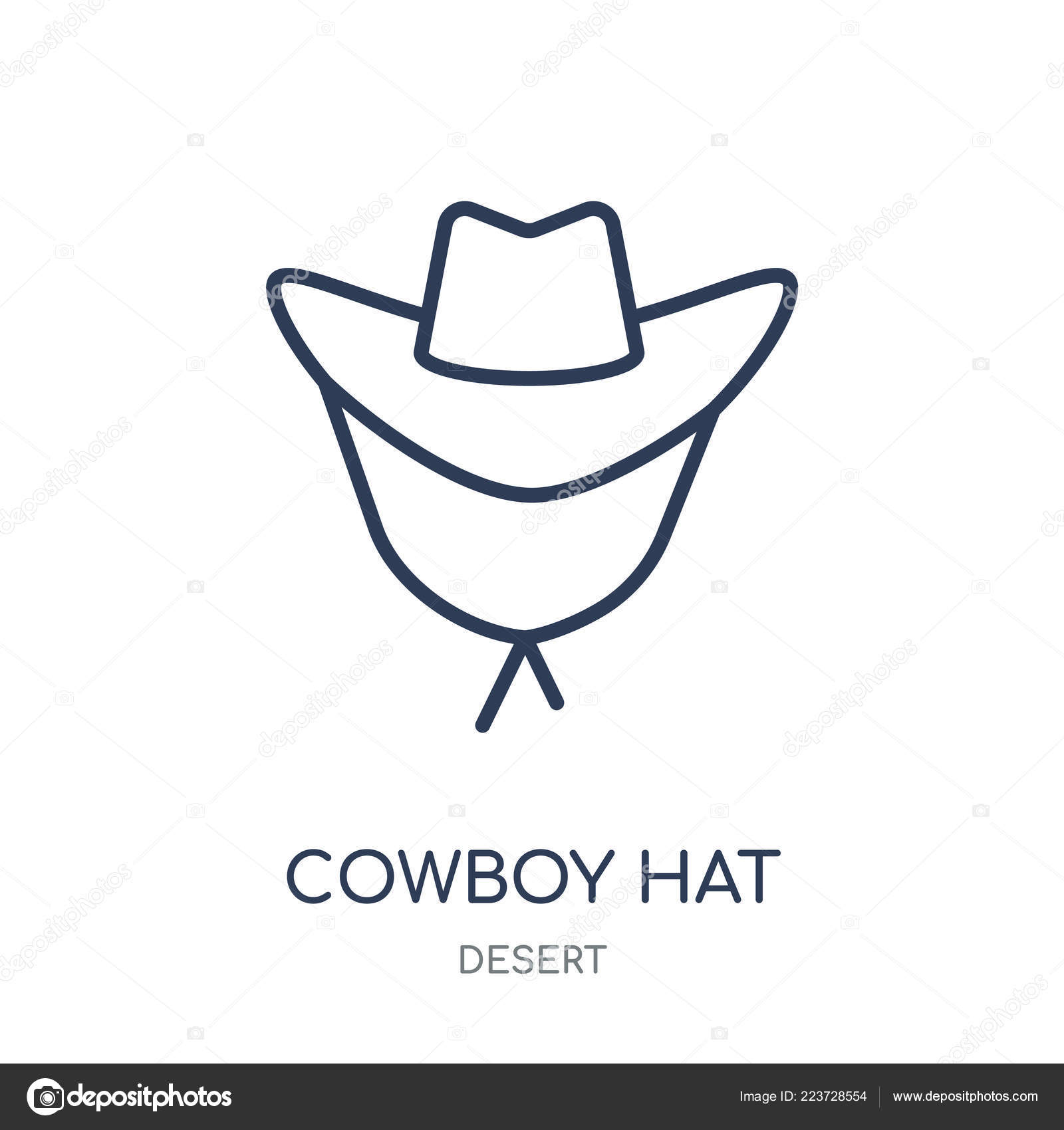 fbcf4c159a5 Cowboy Hat icon. Cowboy Hat linear symbol design from Desert collection.  Simple outline element vector illustration on white background.