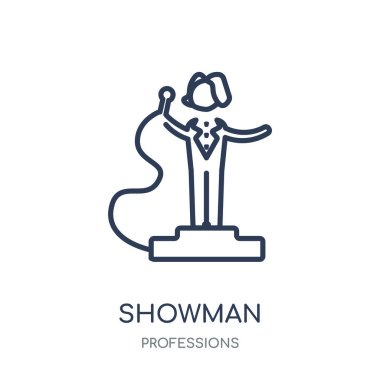 Showman icon. Showman linear symbol design from Professions collection. Simple outline element vector illustration on white background.