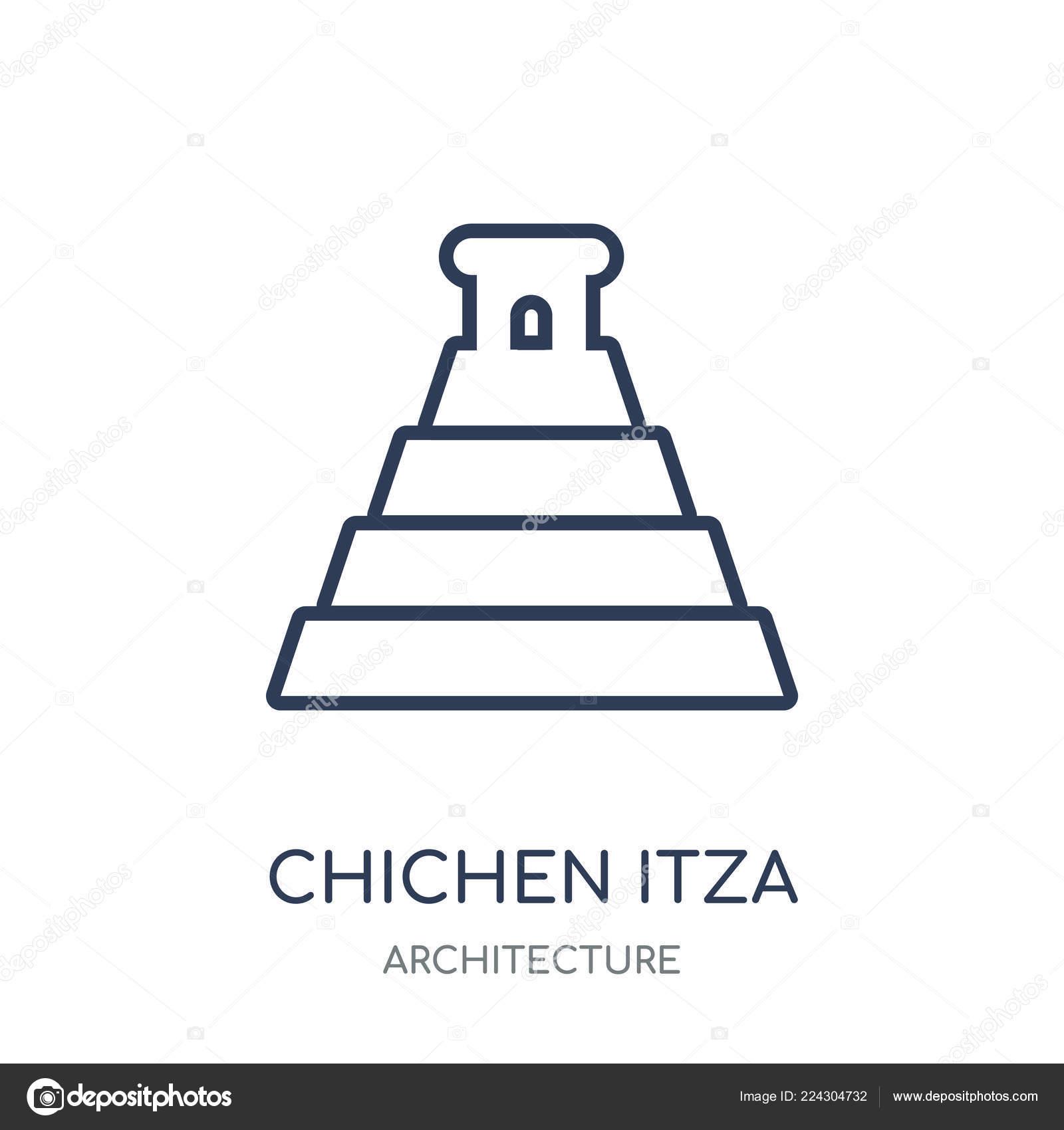 Chichen Itza Icon Chichen Itza Linear Symbol Design Architecture