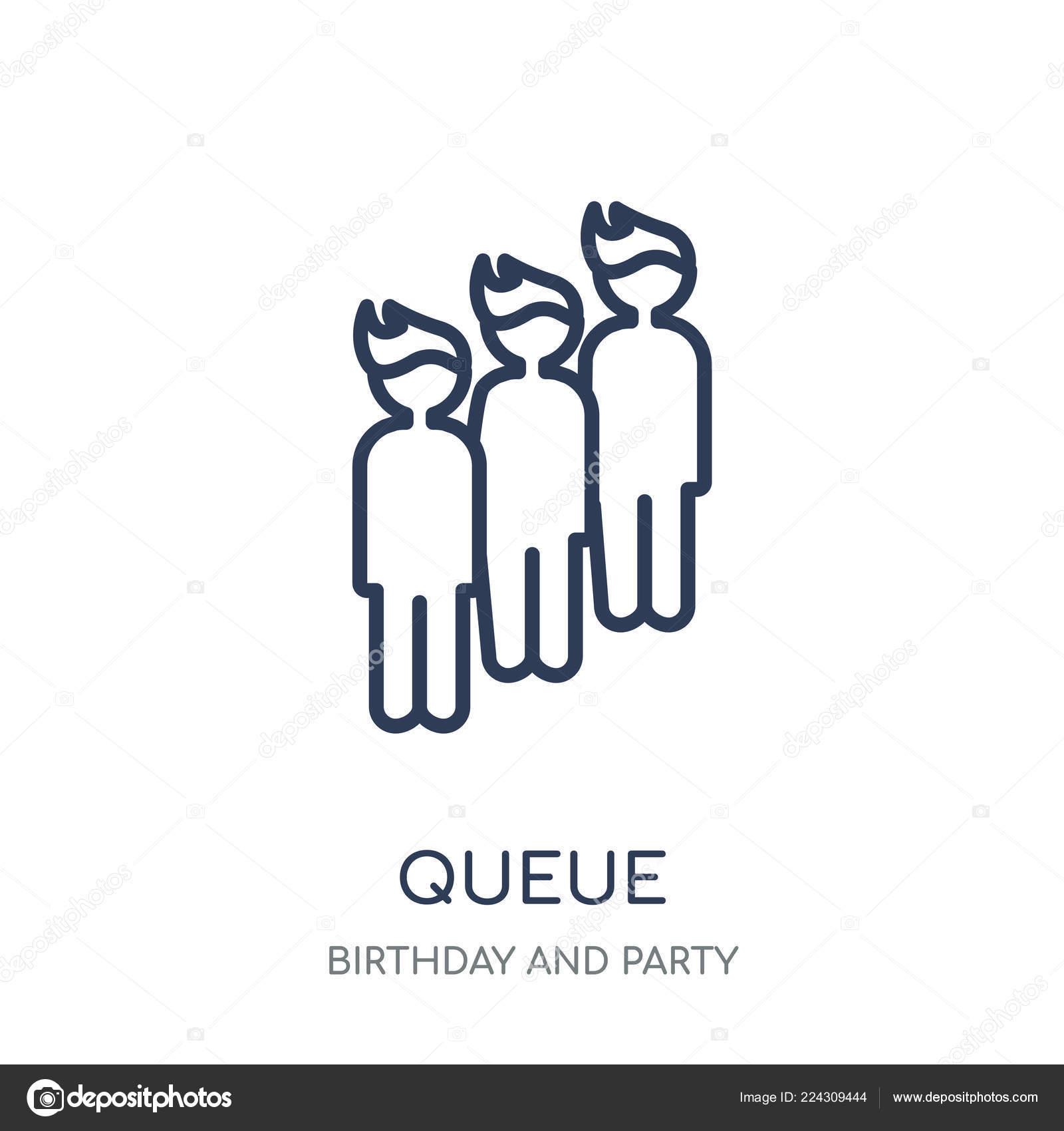 Queue Icon Queue Linear Symbol Design Birthday Party