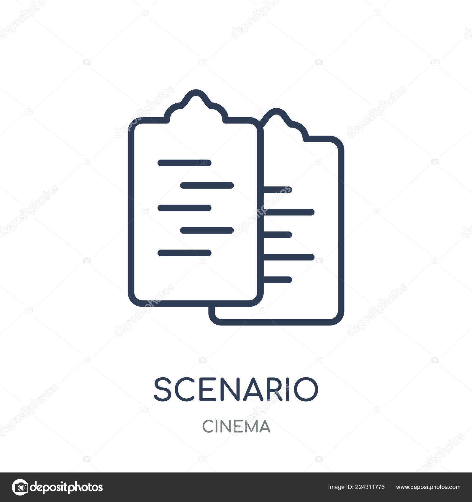 Scenario Icon Scenario Linear Symbol Design Cinema