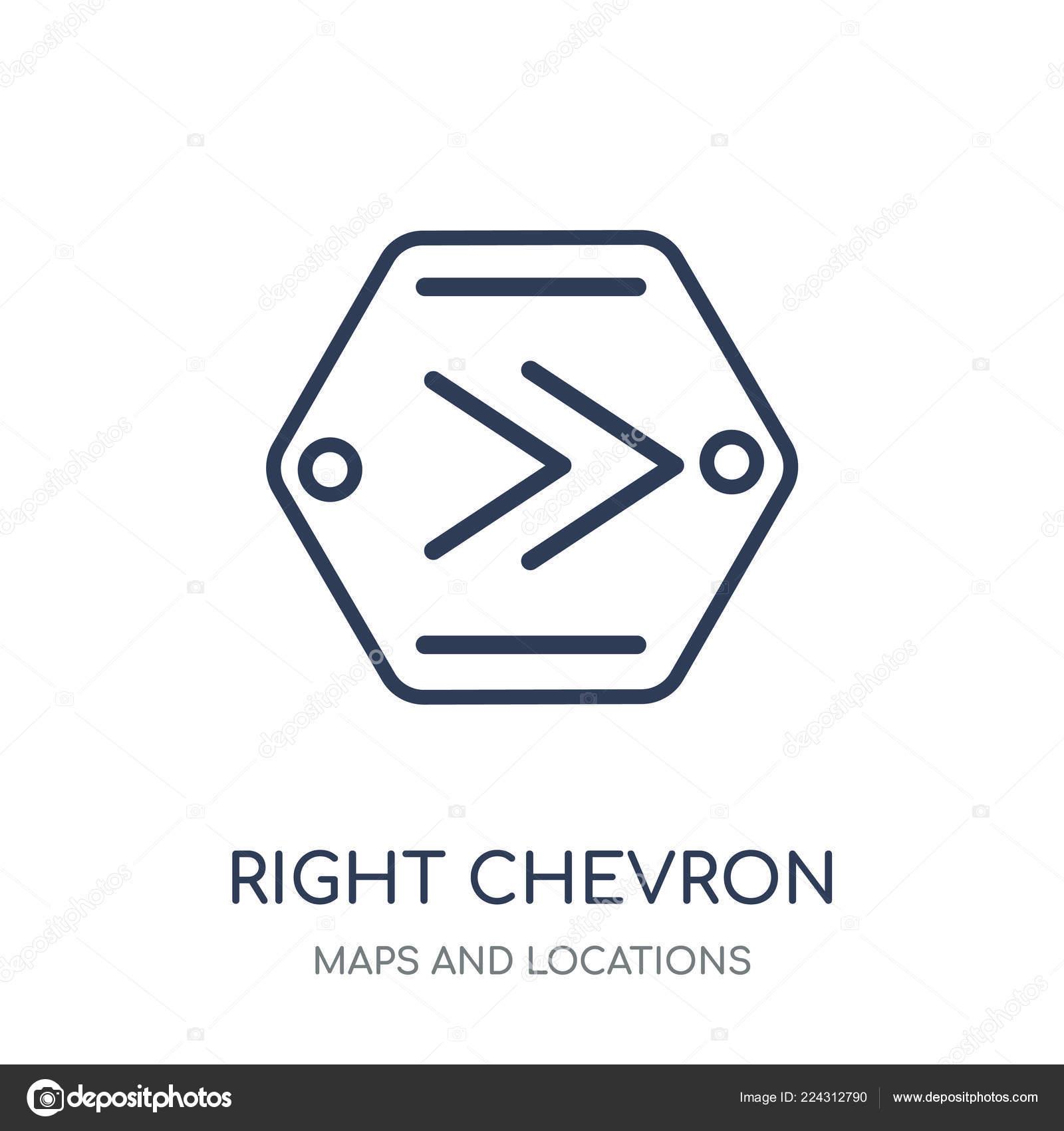 Right Chevron Icon Right Chevron Linear Symbol Design Maps Locations — Stock Vector