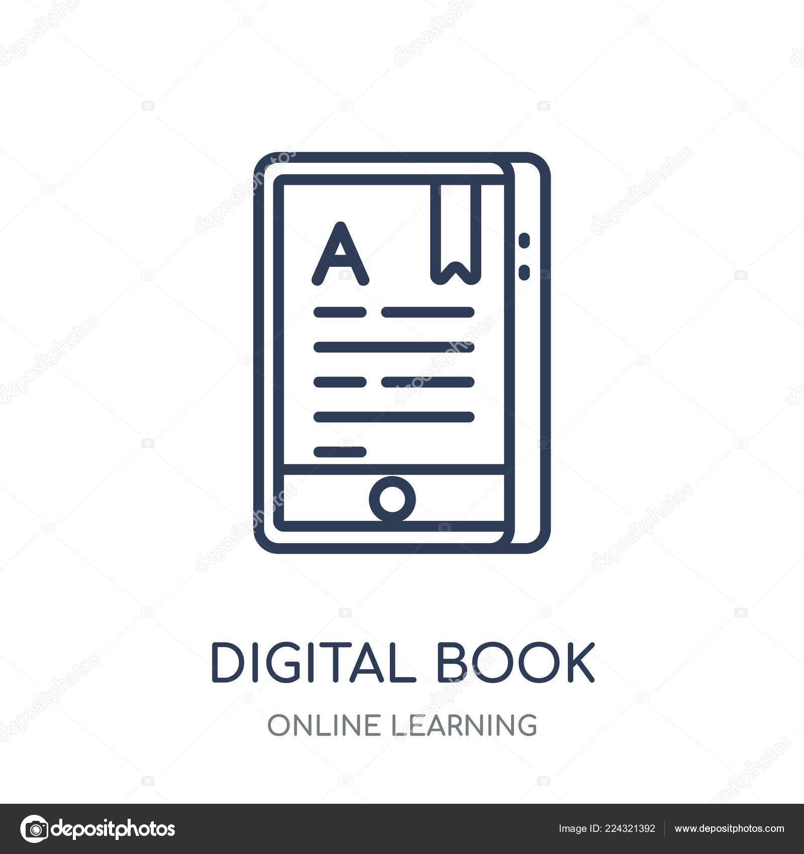 Digital Book Icon Digital Book Linear Symbol Design Online