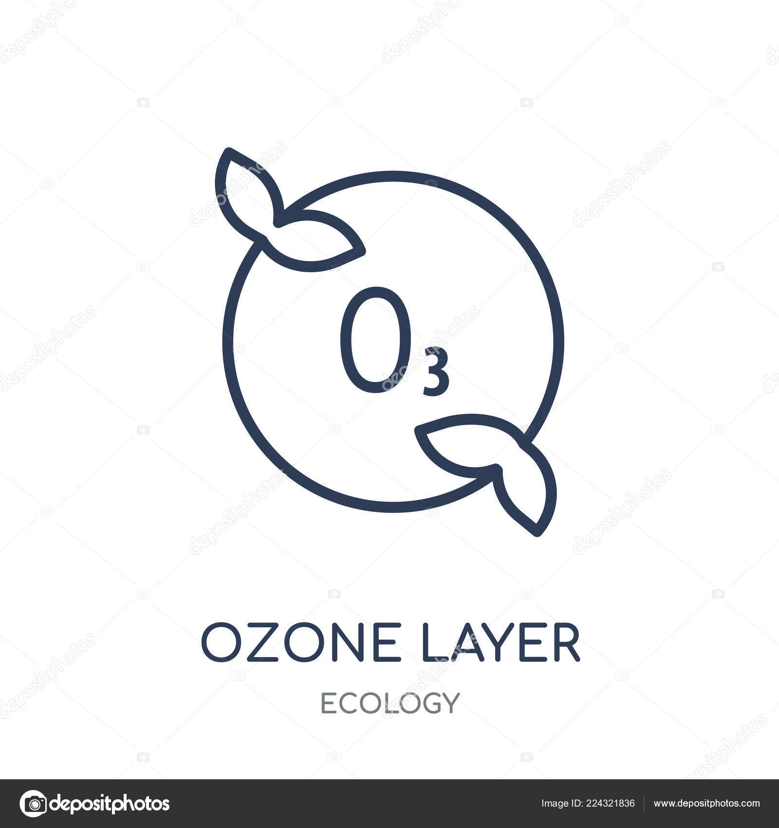 Ozone Layer Icon Ozone Layer Linear Symbol Design Ecology Collection