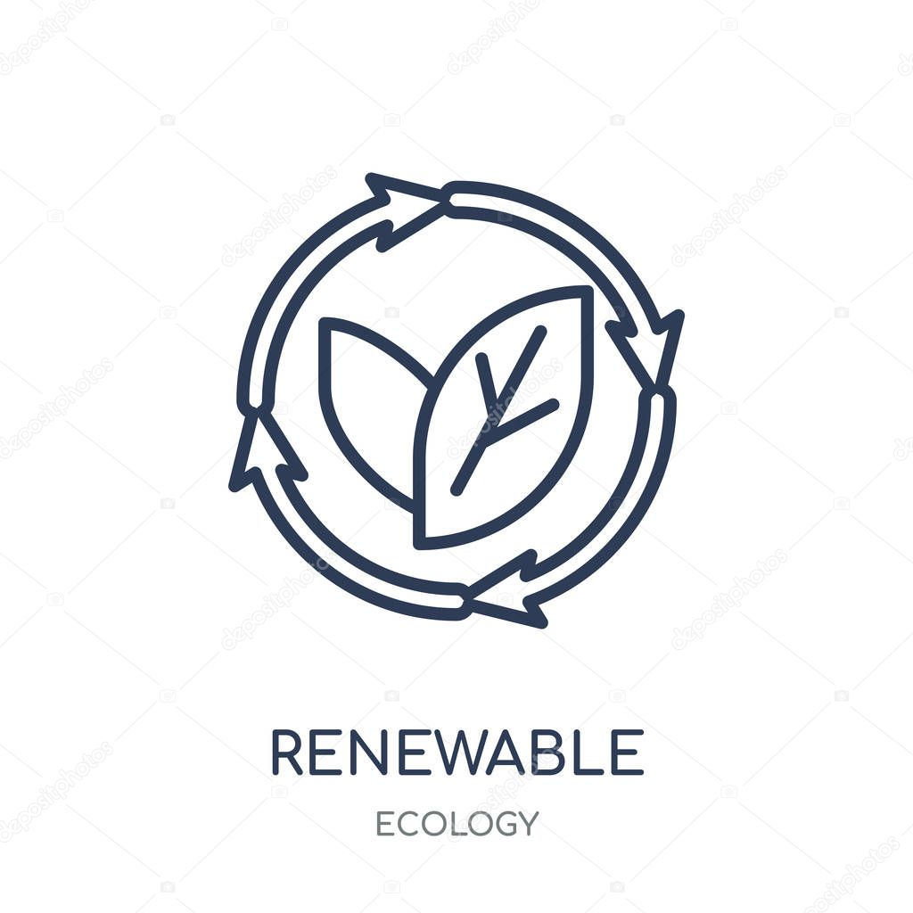 Renewable icon. Renewable linear symbol design from Ecology collection. Simple outline element vector illustration on white background.