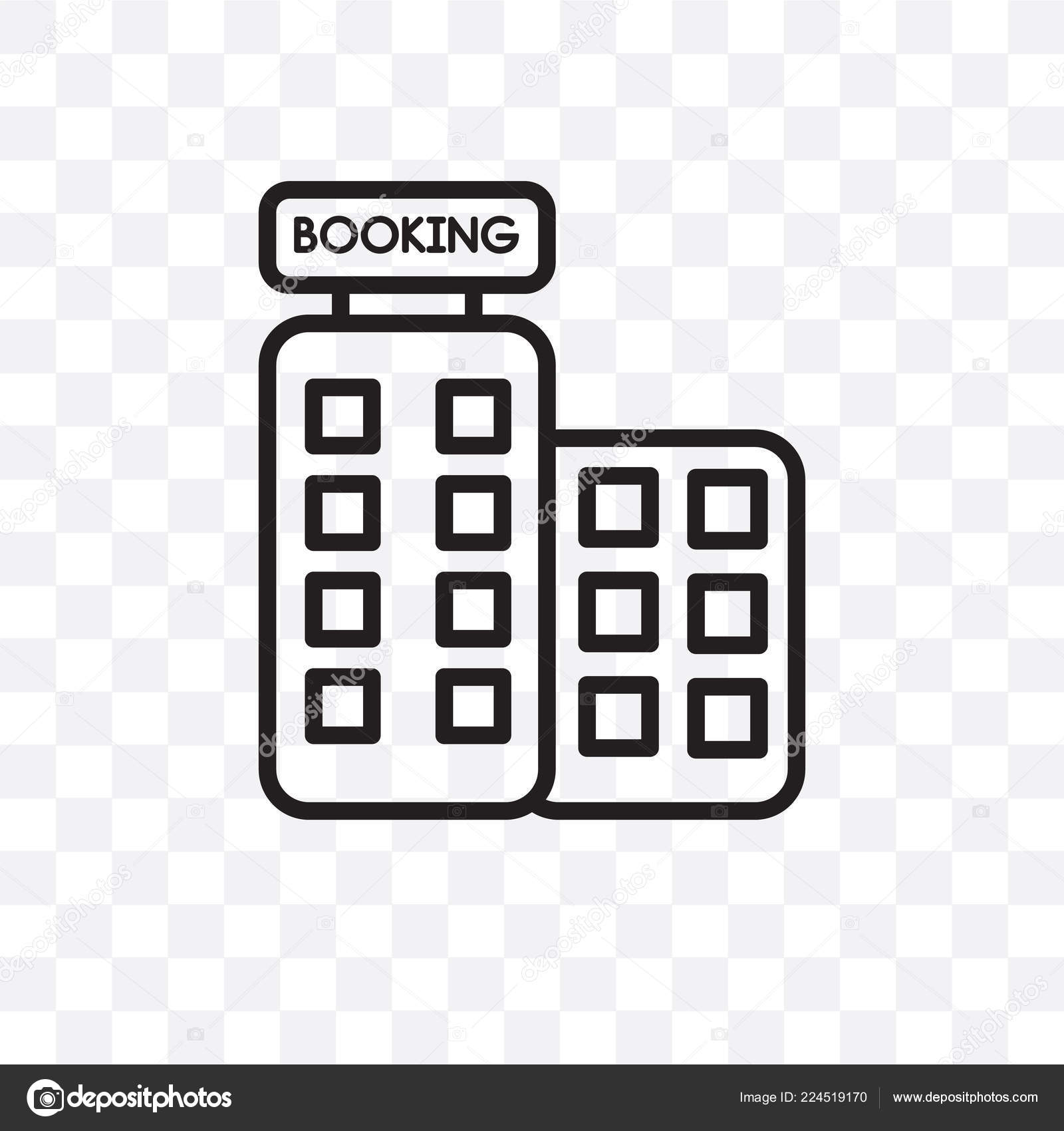 Booking Vector Linear Icon Isolated Transparent Background