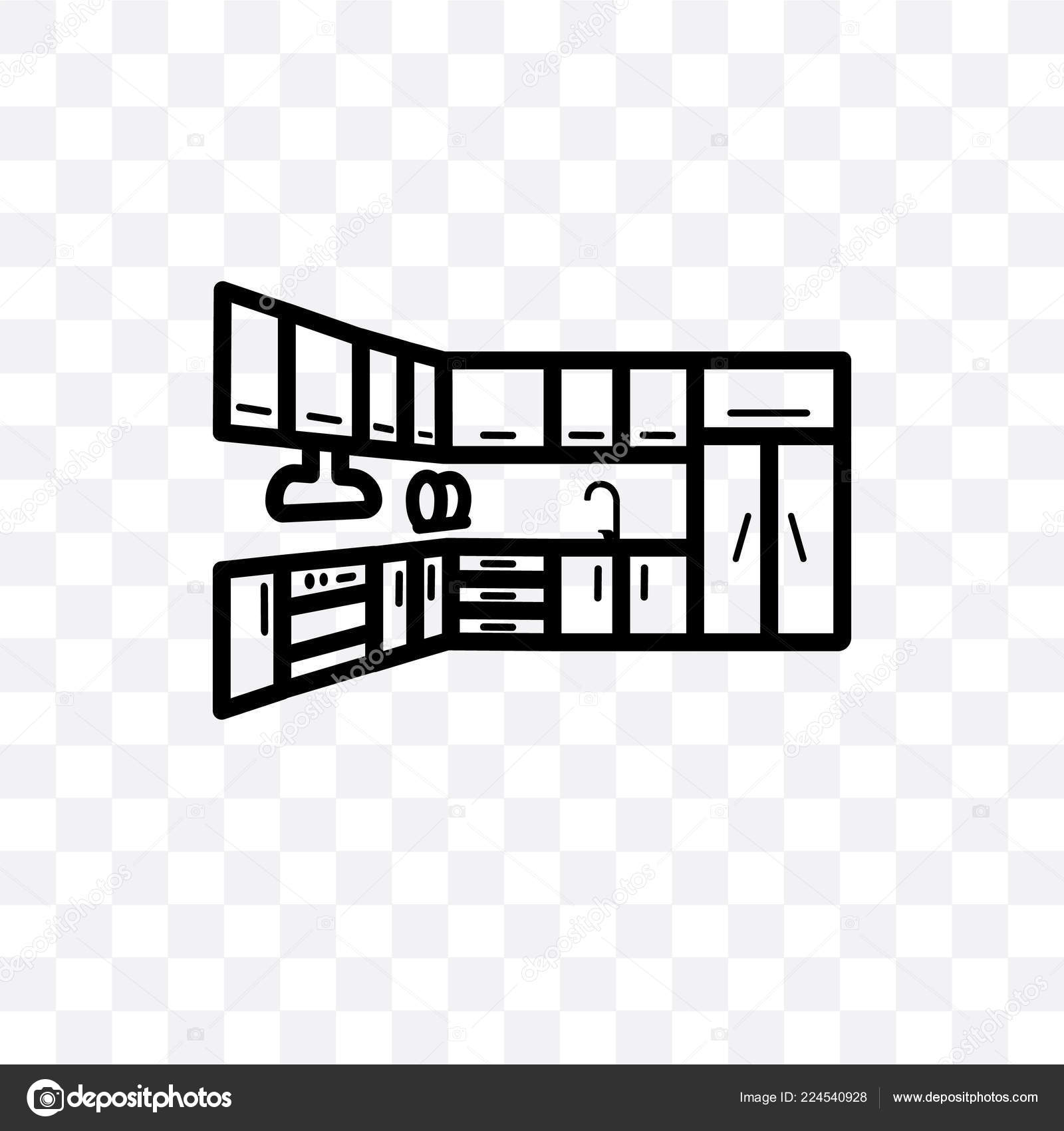 Kitchen Cabinet Vector Linear Icon Isolated Transparent Background