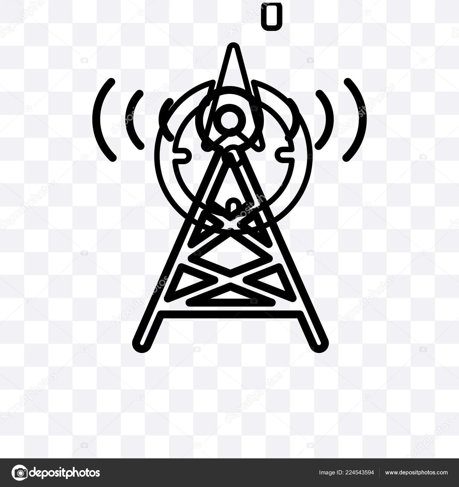 Radio Tower Vector Linear Icon Isolated Transparent