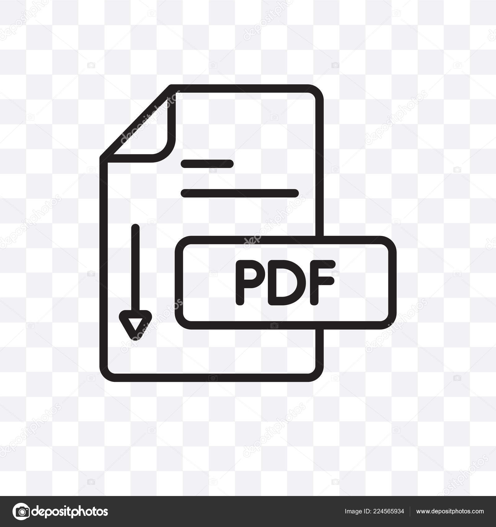 Pdf Vector Linear Icon Isolated Transparent Background Pdf