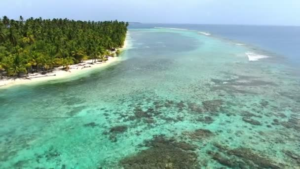 Caribbean white unspoiled sandy beach aerial drone view.Flying along the coastline with palm trees next to the crystal tropical waters.Tropical vacation destination paradise island aerial drone view.San Blas Islands in the Cayos Holandeses Panama