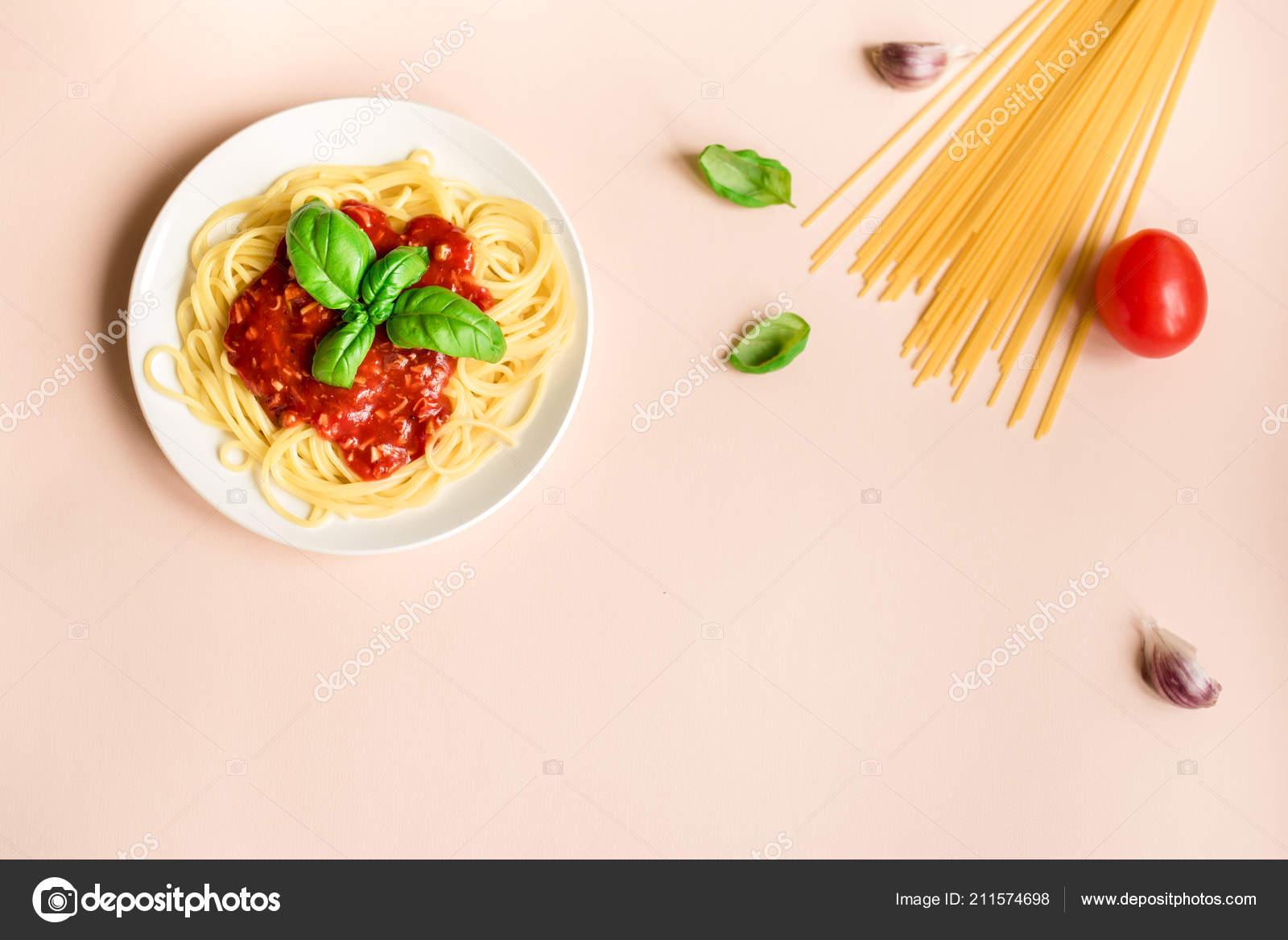 Spaghetti Alla Bolognese Pasta Ingredienti Sfondo Rosa Vista Dall