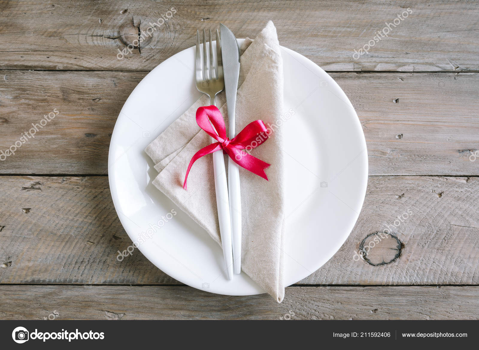 Romantic Table Setting White Plate Modern Cutlery Red Ribbon Wooden