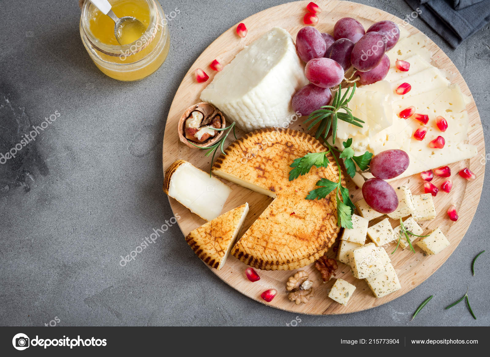 Cheese Platter Assorted Cheeses Grapes Nuts Gray Stone Background Copy Stock Photo C Mizina 215773904