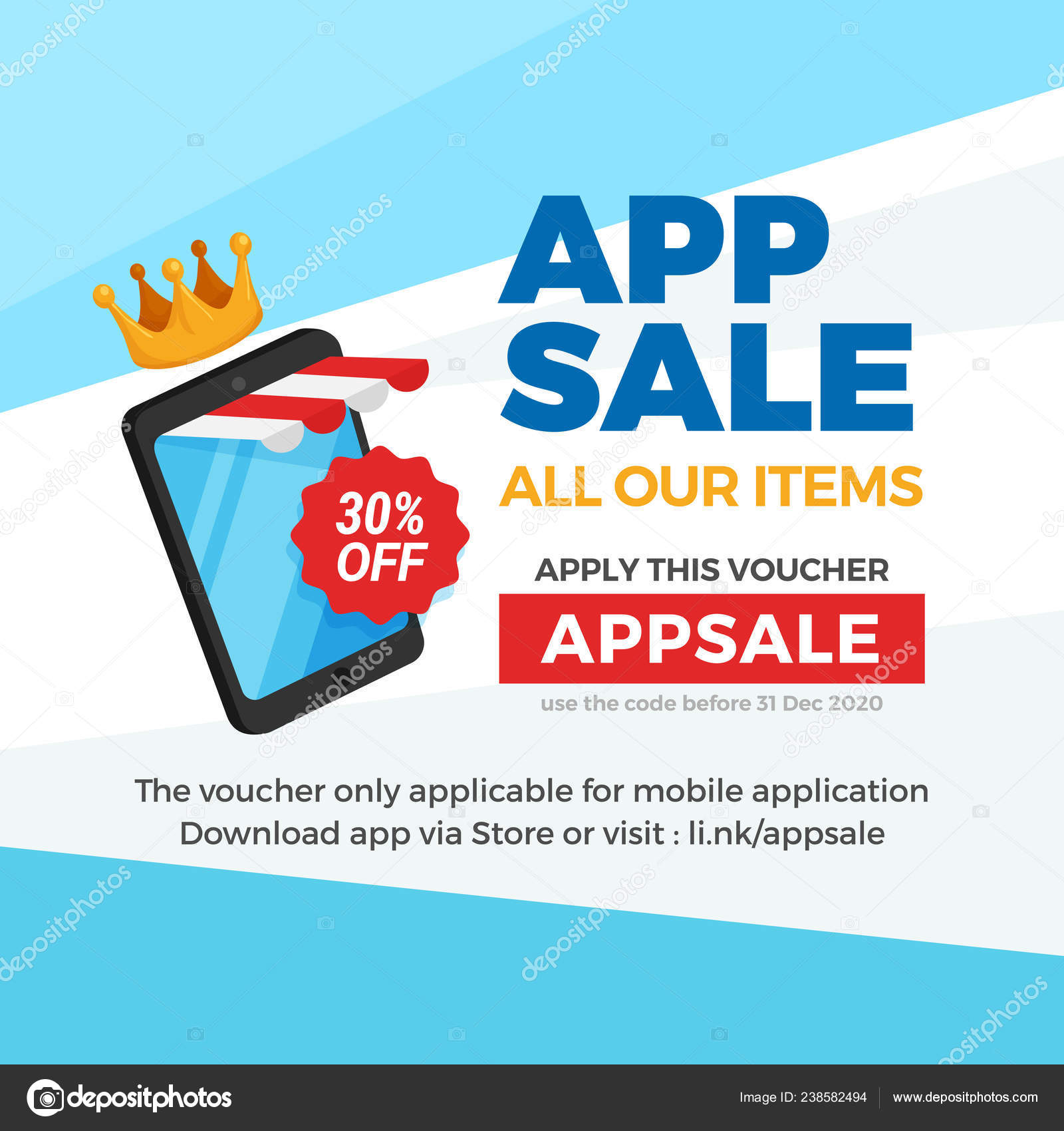 Smartphone Striped Store Awning Commerce App Sale Voucher Discount Banner Stock Vector C Mnaufal 238582494