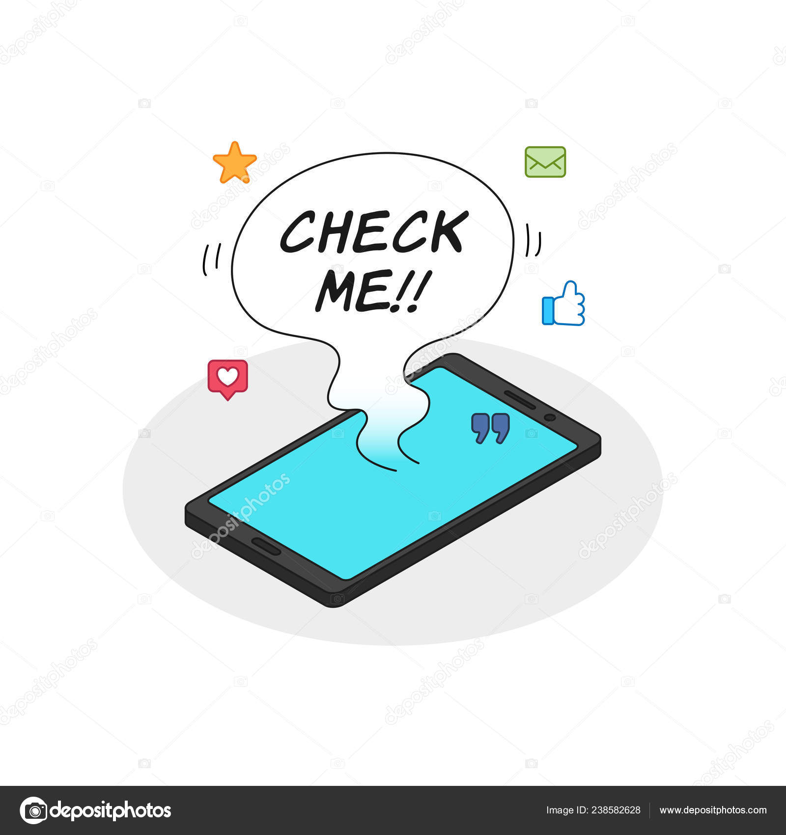 lots notifications smart phone check balloon text phone cell addiction —  stock vector