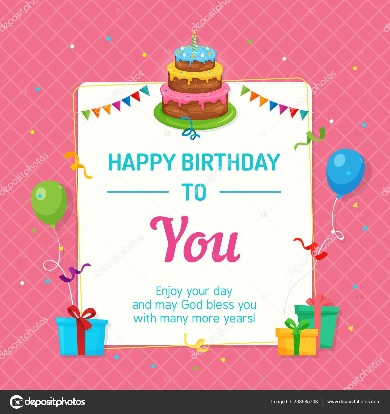 Feliz Plantilla Tarjeta Invitación Cumpleaños Con Pastel