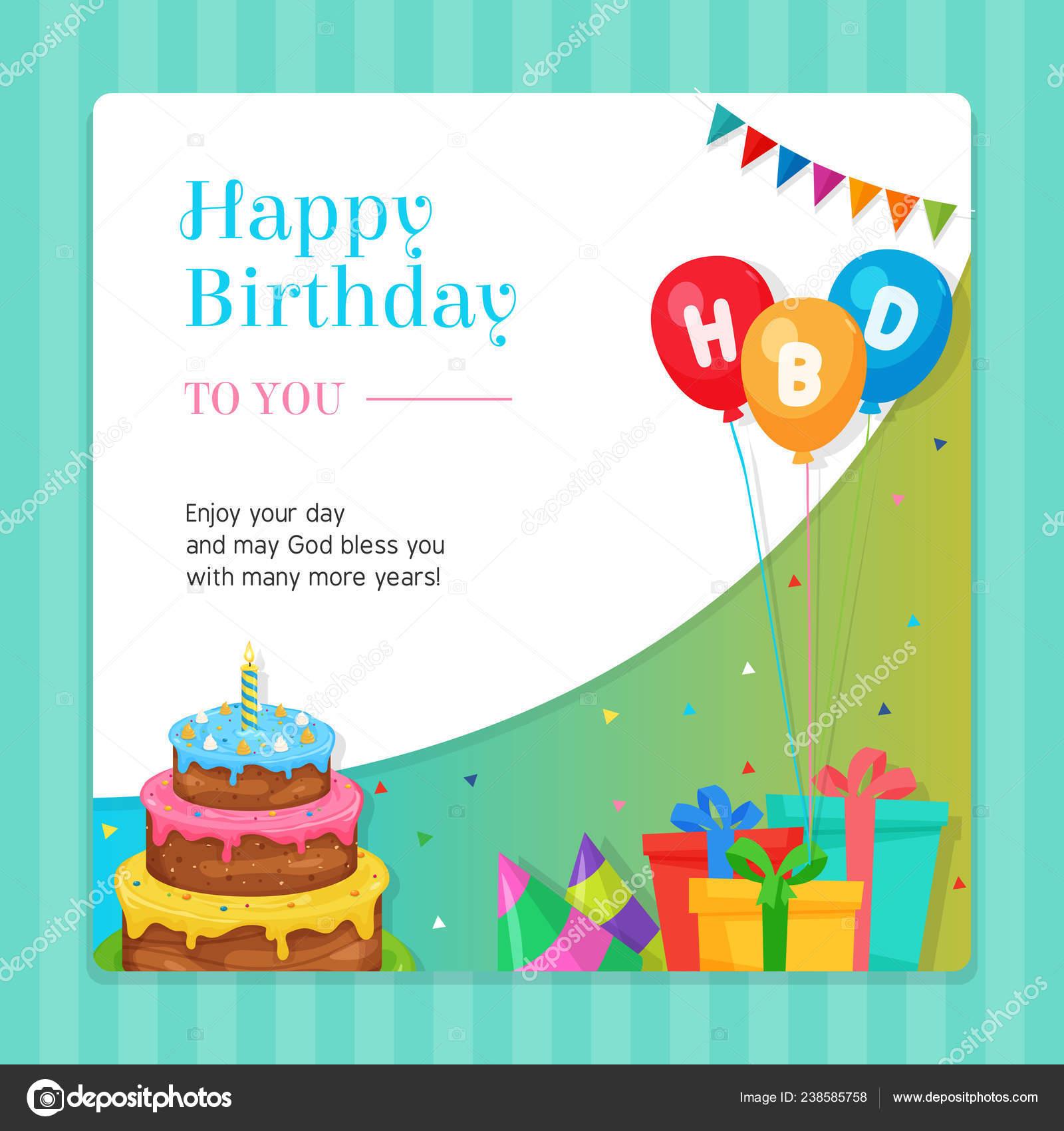 Feliz Plantilla Moderna Tarjeta Invitación Cumpleaños Con