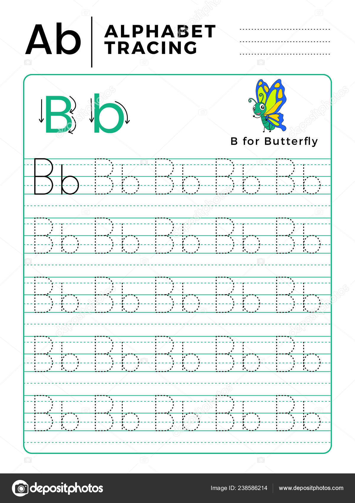 Letter Alphabet Tracing Book Example Funny Butterfly Cartoon ...