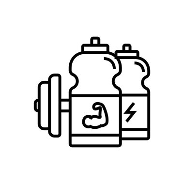 fitness energy drink icon. sport drink bottle with dumbbell illustration. simple monoline vector graphic.
