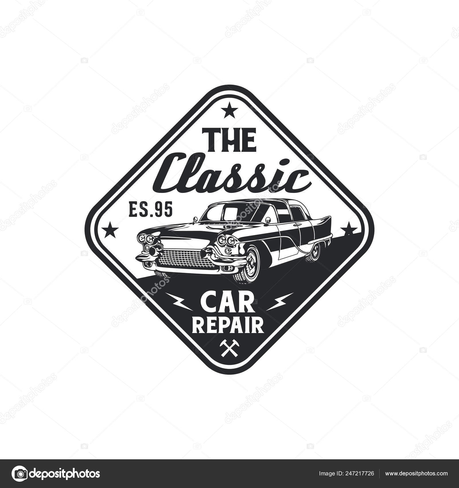 Vintage Classic Car Repair Garage Logo Badge Design Old Retro Stock Vector C Mnaufal 247217726