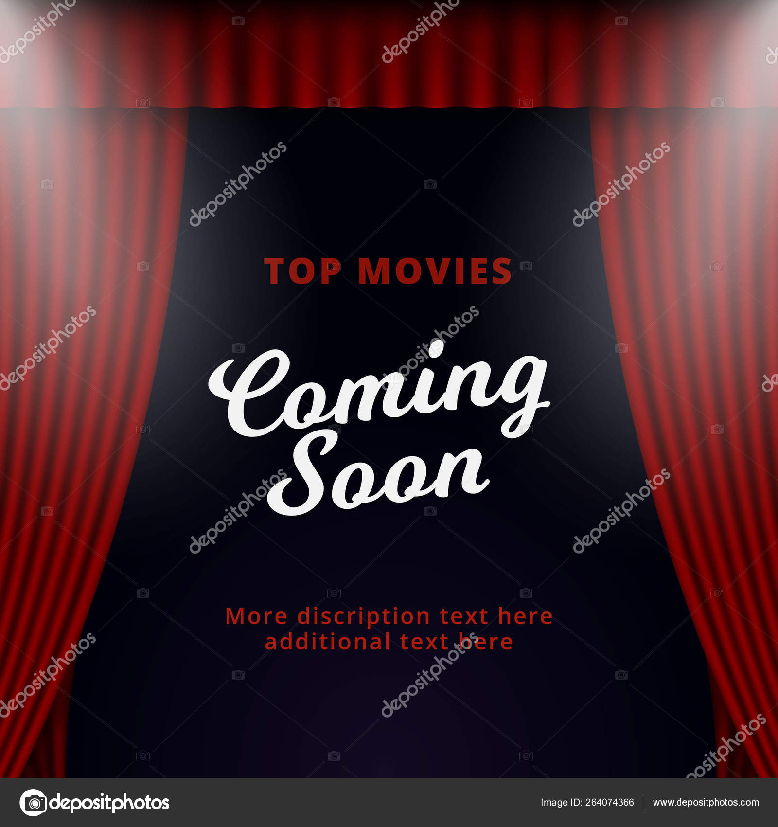 Show Coming Soon Poster Promotion Vector Design Opened Theater Stage Curtain Background With Two Spotlight Illustration Image By C Mnaufal Stock 264074366