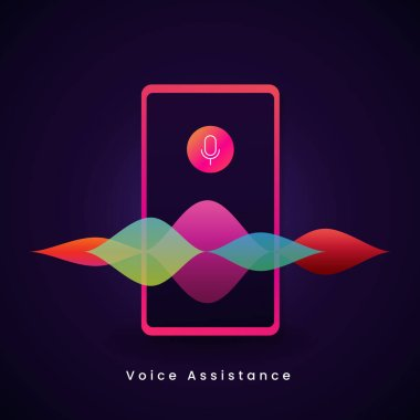 microphone icon with digital sound audio wave spectrum illustration for AI personal mobile voice assistant concept design