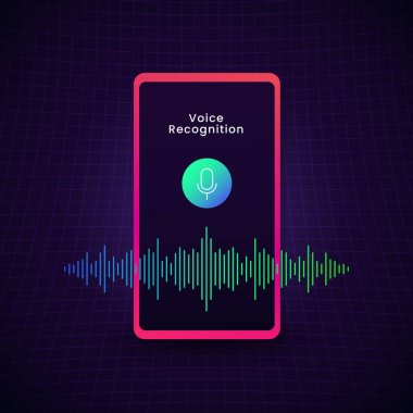 Smart phone Voice recognition concept design with microphone icon and digital bar sound audio wave spectrum vector illustration