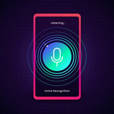 smartphone digital voice recognition listening sound concept design with microphone icon and circle audio wave vector illustration. AI voice assistant.