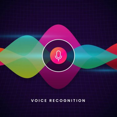 Voice recognition ai personal assistant visual design concept with microphone icon and colorful modern sound audio wave spectrum vector illustration.