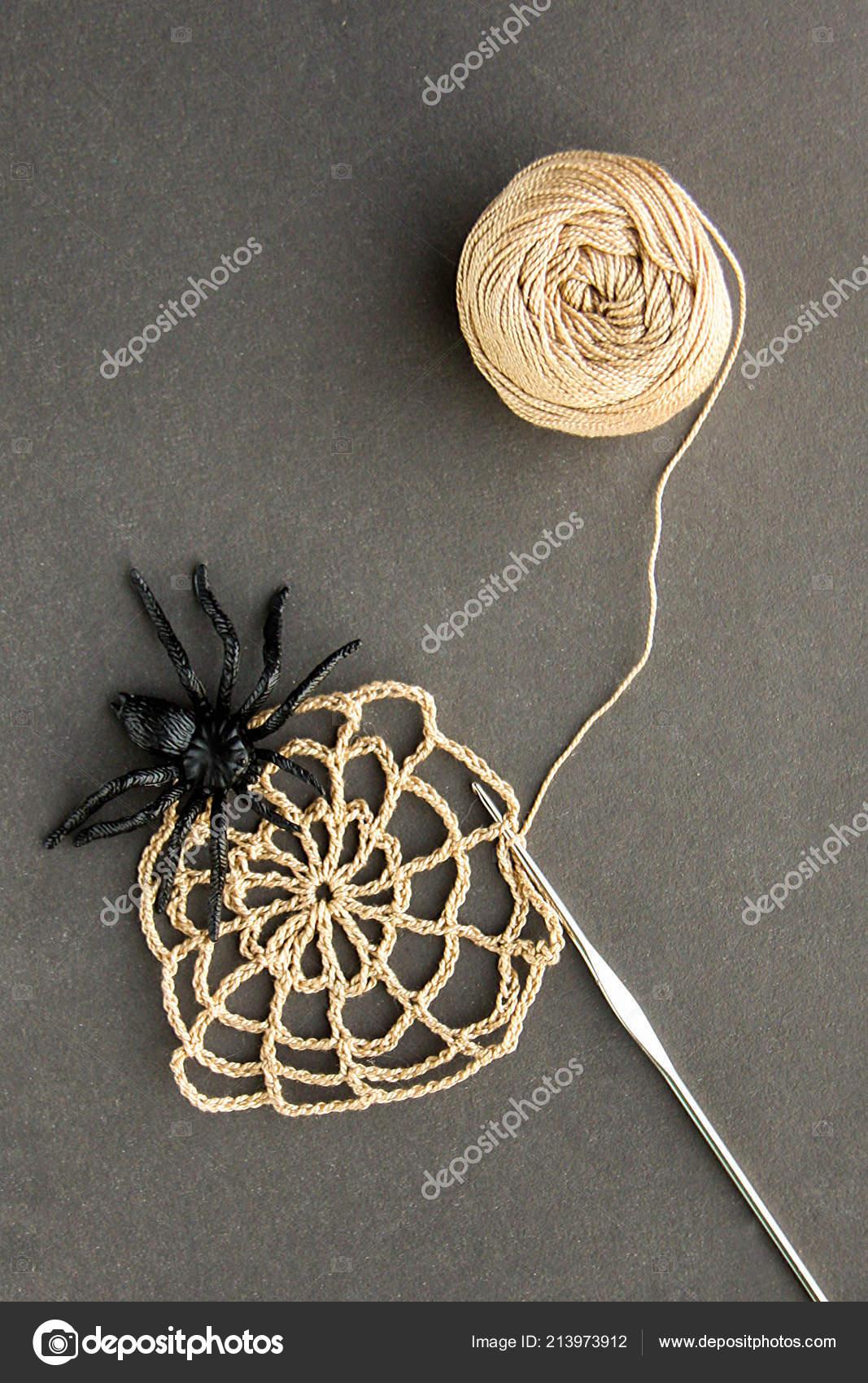 Gehäkeltes Spinnennetz Mit Schwarzen Spinne Häkeln Und Baumwolle