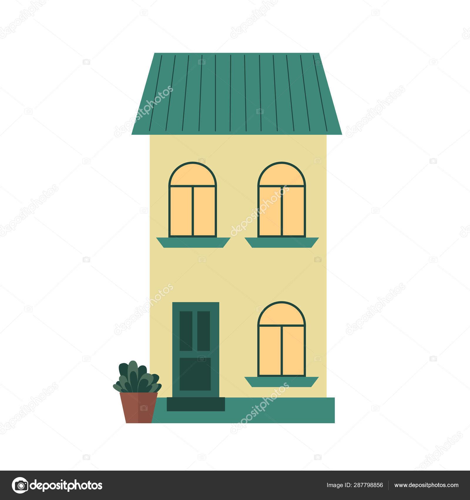Ville ville maison de ville façade vectoriele face à la vue ...