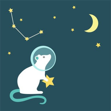 Rat astronaut in a spacesuit looks at the sky with the moon, month and rat constellation