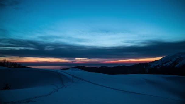 Colorful Snowy Mountain Sunset. Dawn