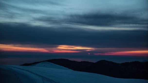 Beautiful Snowy Mountain Sunset. Dawy Mountain Valley