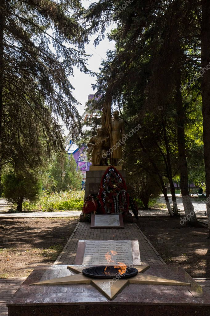 Mineralnye Vody, Russia. 09.10.2018 . Unkown soldiers grave in the park of Mineralnye Vody city