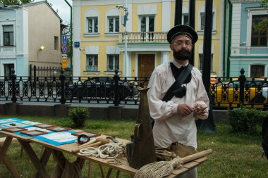 Moscow, Russia - June 2019: Historical festival Times and epochs. Reconstruction of life and wars.